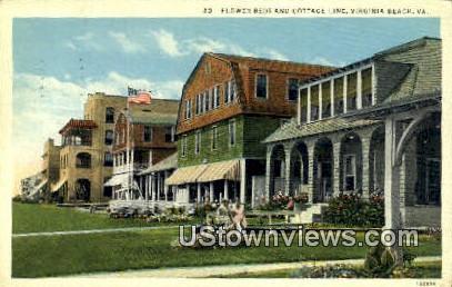 Flower Beds And Cottage Line  - Virginia Beach Postcards, Virginia VA Postcard