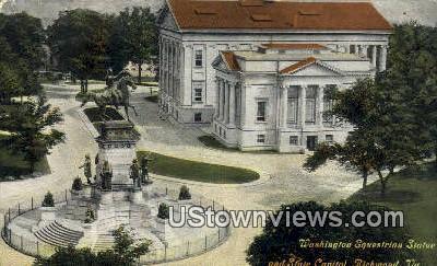 Washingtons Equestrian Statue  - Richmond, Virginia VA Postcard
