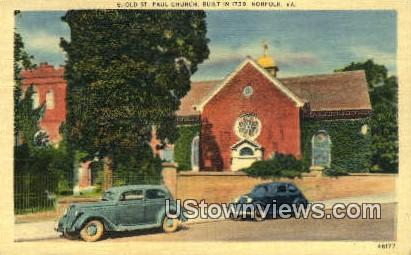 Old St Pauls Church  - Norfolk, Virginia VA Postcard