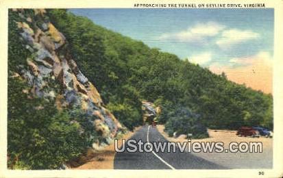 Approaching The Tunnel  - Skyline Drive, Virginia VA Postcard