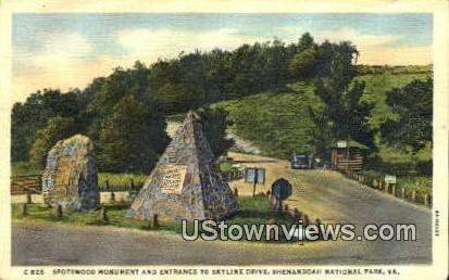 Spotswood Monument And Entrance  - Shenandoah National Park, Virginia VA Postcard