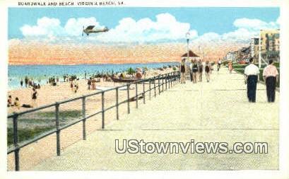 Boardwalk And Beach  - Virginia Beach Postcards, Virginia VA Postcard