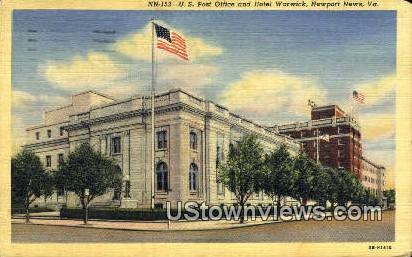 Us Post Office Hotel Warwick  - Newport News, Virginia VA Postcard