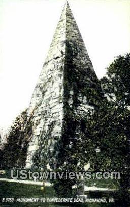 Monument To Confederate Dead  - Richmond, Virginia VA Postcard