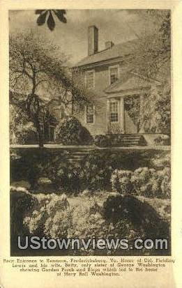 Rear Etrance To Kenmore  - Fredericksburg, Virginia VA Postcard