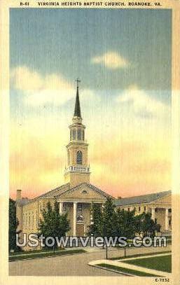 Virginia Heights Baptist Church  - Roanoke Postcard