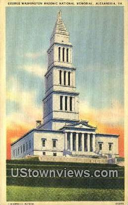Washingtons Masonic Memorial  - Alexandria, Virginia VA Postcard