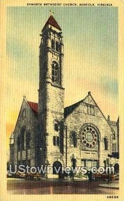 Epworth Methodist Church  - Norfolk, Virginia VA Postcard