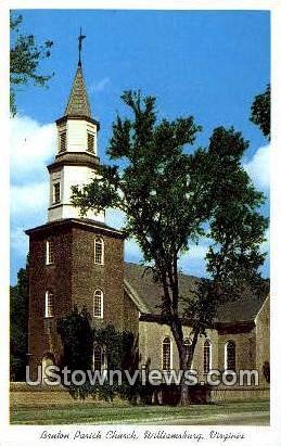 Bruton Parish Church  - Williamsburg, Virginia VA Postcard
