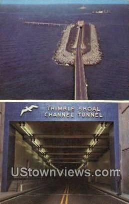 Thimble Shoal Channel Tunnel  - Norfolk, Virginia VA Postcard