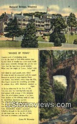 Bridge Of Years  - Natural Bridge, Virginia VA Postcard