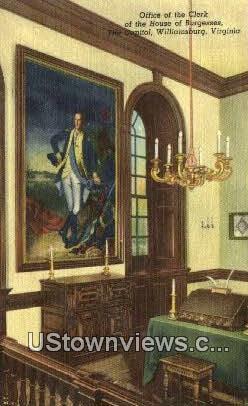 Clerk House of Burgesses, Capitol - Williamsburg, Virginia VA Postcard