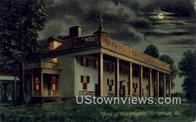 Home Of Washingtons At Night  - Mount Vernon, Virginia VA Postcard
