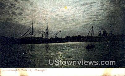 Norfolk Harbor By Moonlight - Virginia VA Postcard