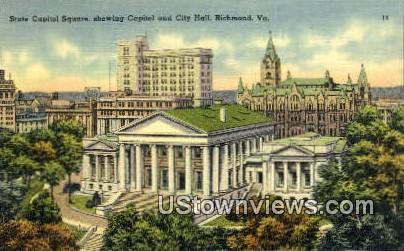 State Captiol Square, City Hall - Richmond, Virginia VA Postcard