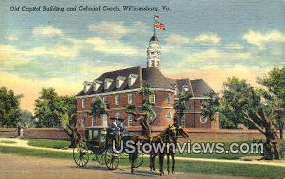 Captiol Building & Colonial Coach  - Williamsburg, Virginia VA Postcard
