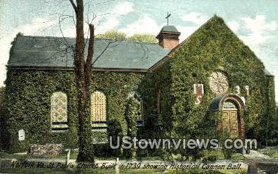 St. Pauls Church Built in 1739 - Norfolk, Virginia VA Postcard