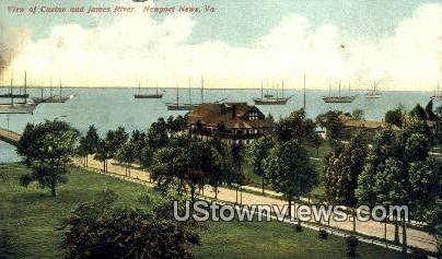 Casino & James River - Newport News, Virginia VA Postcard