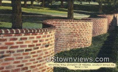 Serpantine Wall U of Virginia - Charlottesville Postcard