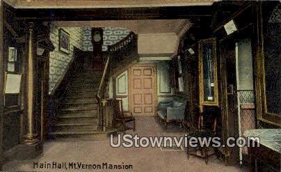 Main Hall, Mt. Vernon Mansion - Mount Vernon, Virginia VA Postcard