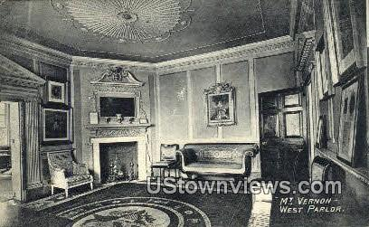 Mt. Vernon Mansion, West Parlor - Mount Vernon, Virginia VA Postcard