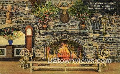 The Fireplace in Lodge - New Market, Virginia VA Postcard