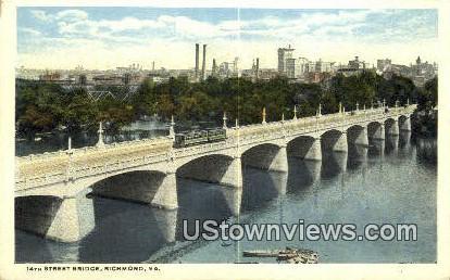 14Th Street Bridge - Richmond, Virginia VA Postcard