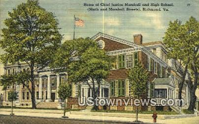 Chief Justice Marshall Home - Richmond, Virginia VA Postcard