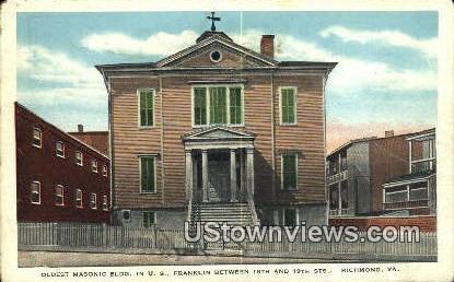 Oldest Masonic Building  - Richmond, Virginia VA Postcard