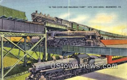 Railroad 16Th And Dock  - Richmond, Virginia VA Postcard