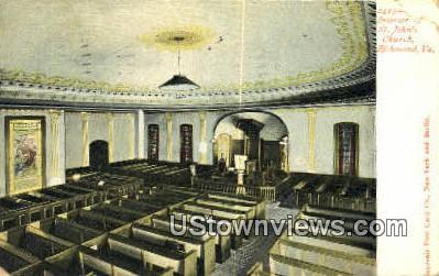 St Johns Church Interior  - Richmond, Virginia VA Postcard