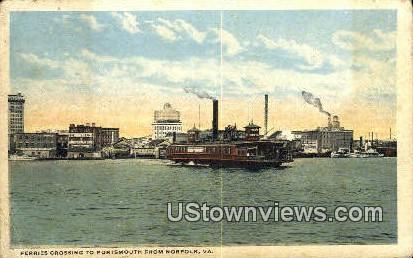 Ferries Crossing  - Norfolk, Virginia VA Postcard