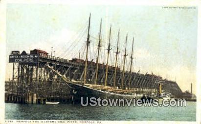 Western Coal Piers - Norfolk, Virginia VA Postcard