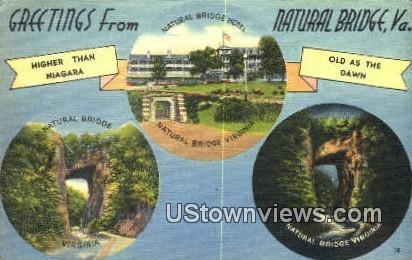 Greetings From - Natural Bridge, Virginia VA Postcard