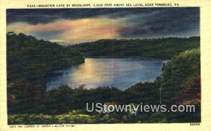 Mountain Lake By Moonlight  - Pembroke, Virginia VA Postcard