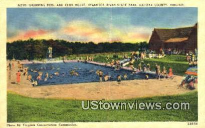 Swimming Pool And Club House  - Halifax County, Virginia VA Postcard