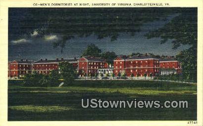 Men's Dormitories At  Night  - Charlottesville, Virginia VA Postcard
