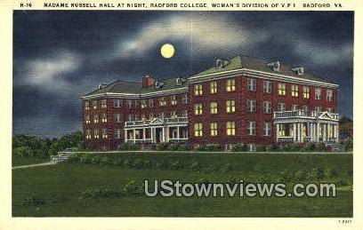 Madame Russell Hall At Night  - Radford, Virginia VA Postcard