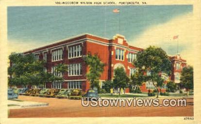 Woodrow Wilson High School  - Portsmouth, Virginia VA Postcard