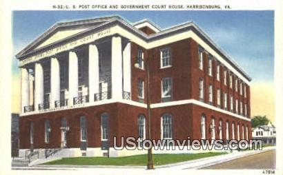 Post Office & Gov. Court House  - Harrisonburg, Virginia VA Postcard