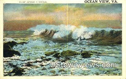 Surf After A Storm  - Ocean View, Virginia VA Postcard