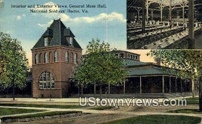 Interior And Exterior Views Mess Hall  - National Soldiers Home, Virginia VA Postcard