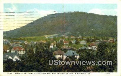 Residential Section And Mill Mountain - Roanoke, Virginia VA Postcard