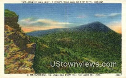 Crescent Rock Cliff  - Skyline Drive, Virginia VA Postcard