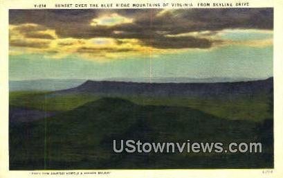 Sunset Over Blue Ridge Mountains  - Skyline Drive, Virginia VA Postcard