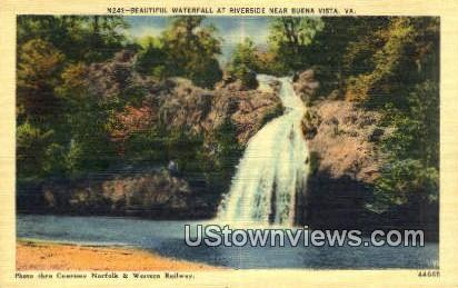 Beautiful Waterfall  - Buena Vista, Virginia VA Postcard