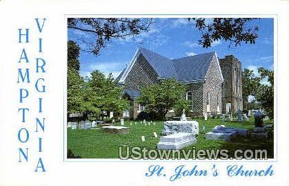 St Johns Church Interior  - Hampton, Virginia VA Postcard