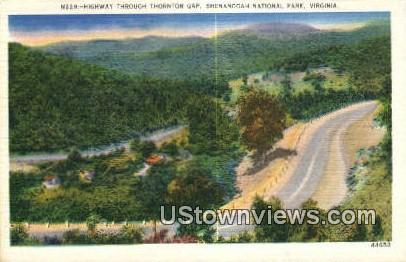 High Way Through Throton Gap  - Shenandoah National Park, Virginia VA Postcard