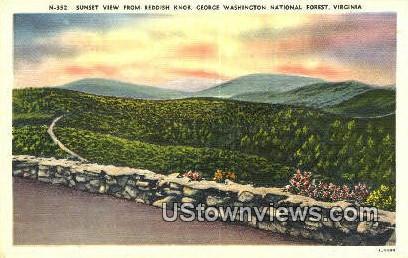Sunset From Reddish Knob  - George Washington National Forest, Virginia VA Postcard