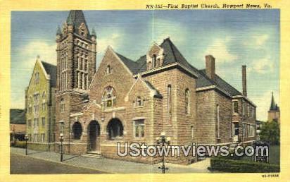 First Baptist Church  - Newport News, Virginia VA Postcard